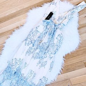 Lulu's Dresses - NWT Lulu's Blue and White Lace Midi Dress